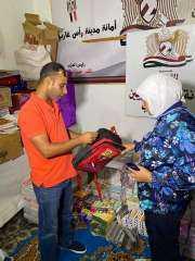 """أمين تنظيم حزب """"المصريين"""" تفتتح معرض بيع المستلزمات المدرسية برأس غارب"""